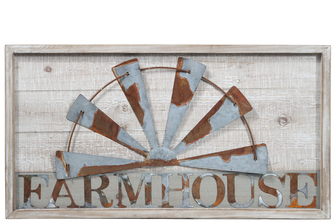 "UTC26507 Wood Rectangle Wall Decor with Galvanized Rustic Windmill Vine and ""Farmhouse"" Writing Design Natural Finish Brown"