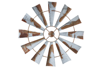 UTC26508 Metal Round Wall Decor Windmill Blades in Rustic Design with Back Hanger Galvanized Finish Gray