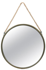 UTC26509 Metal Round Wall Mirror with Top Rope Hanger LG Antique Finish Champagne