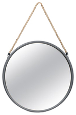 UTC26510 Metal Round Mirror with Top Rope Hanger LG Antique Finish Gunmetal Gray