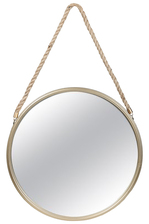 UTC26511 Metal Round Mirror with Top Rope Hanger LG Antique Finish Gold