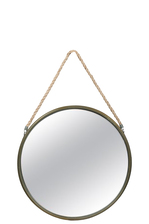 UTC26512 Metal Round Wall Mirror with Top Rope Hanger SM Antique Finish Champagne