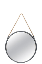 UTC26513 Metal Round Mirror with Top Rope Hanger SM Antique Finish Gunmetal Gray