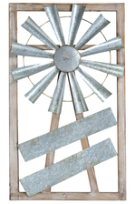 UTC26515 Wood Rectangle Wall Decor Frame with Rustic Galvanized Windmill Design Natural Finish Brown