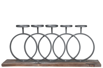 UTC26517 Metal Round Clustered Candle Holder with Interlocking Design Stand on Rectangular Wooden Base Painted Finish Dark Gray