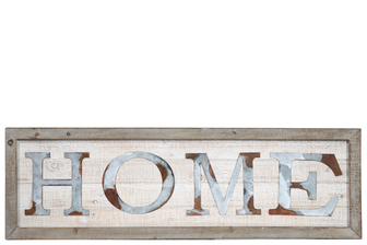 "UTC26518 Wood Rectangle Wall Art with Frame and Rustic Galvanized ""HOME"" Writing Design Natural Finish Brown"