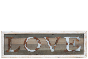 "UTC26519 Wood Rectangle Wall Art with Frame and Rustic Galvanized ""LOVE"" Writing Design Natural Finish Brown"