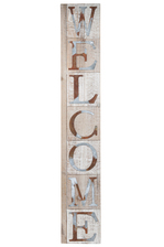 "UTC26520 Wood Rectangle Wall Art with Galvanized ""WELCOME"" Writing Design Natural Finish Brown"