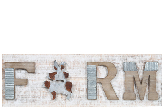 "UTC26521 Wood Rectangle Wall Art with Embossed Rustic Galvanized""FARM"" Writing Design and Farm Animals Natural Finish Brown"