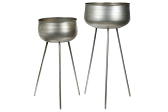 UTC26522 Metal Round Planter with Golden Tripod Stand Set of Two Metallic Finish Copper