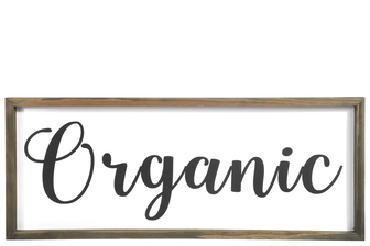 "UTC26525 Wood Rectangle Wall Art with Frame, ""Organic"" Writing and Metal Back Hangers Painted Finish White"