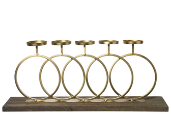 UTC26526 Metal Round Clustered Candle Holder with Interlocking Design Stand on Rectangular Wooden Base Painted Finish Gold