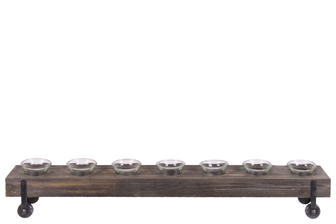 UTC26530 Wood Rectangle Candle Holders with Submerged Glass Cups and Side Stands LG Varnish Finish Dark Brown