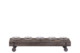 UTC26532 Wood Rectangle Candle Holders with Submerged Glasses and Metal Side Stands SM Varnish Finish Dark Brown