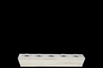 UTC26537 Wood Rectangle Candle Holders with Submerged Glass Holder and Tapered Bottom SM Washed Finish White