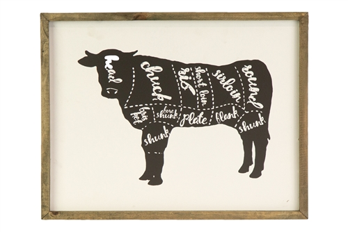 UTC26542 Wood Rectangle Wall Art with Frame and Cow Cut Chart Design Painted Finish White