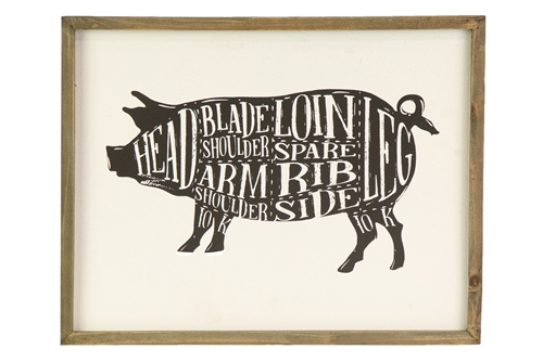 UTC26543 Wood Rectangle Wall Art with Frame and Pig Cut Chart Design Distressed Finish White