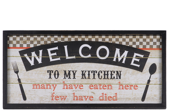 "UTC26715 Wood Rectangular Wall Decor with Label ""WELCOME TO MY KITCHEN; many have eaten here few have died"" Natural Finish Tan"