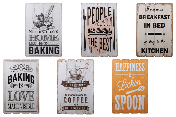 "UTC26718-AST Wood Rectangle Wall Art with Painted ""Quotes"" Design on Four Vertical Wood Combination and Key Hole Back Hanger Assortment of Six Painted Finish Polychromatic"