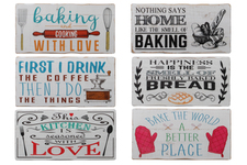 "UTC26719-AST Wood Rectangle Wall Art with Painted ""Baking and Kitchen Quotes"" Design and Random Cut Edges Assortment of Six Painted Finish Polychromatic"
