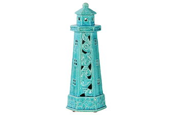 UTC27207 Ceramic Lighthouse Figurine with Cutout and Seashell Design Gloss Finish Turquoise