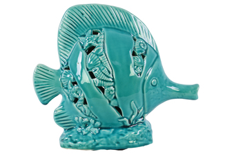 UTC27209 Ceramic Copperband Butterflyfish Figurine with Cutout Seashell Design on Coral Base Gloss Finish Turquoise