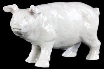 UTC27338 Ceramic Standing Pig Figurine Gloss Finish White