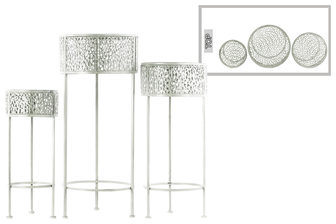 UTC27704 Metal Round Plant Stand with Pierced Metal Design and 3 Legs Set of Three Coated Finish White