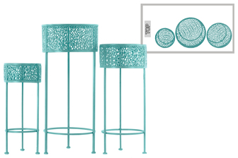 UTC27705 Metal Round Plant Stand with Pierced Metal Design and 3 Legs Set of Three Coated Finish Blue