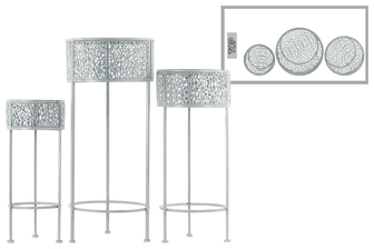 UTC27706 Metal Round Plant Stand with Pierced Metal Design and 3 Legs Set of Three Coated Finish Gray