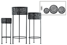 UTC27707 Metal Round Plant Stand with Pierced Metal Design and 3 Legs Set of Three Coated Finish Black