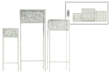 UTC27708 Metal Square Plant Stand with Pierced Metal Design and 3 Legs Set of Three Coated Finish White