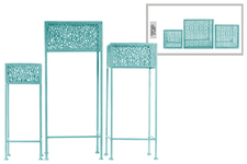 UTC27709 Metal Square Plant Stand with Pierced Metal Design and 3 Legs Set of Three Coated Finish Blue