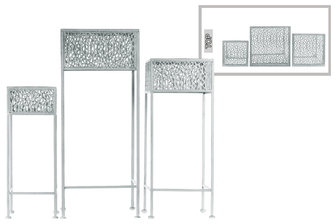 UTC27710 Metal Square Plant Stand with Pierced Metal Design and 3 Legs Set of Three Coated Finish Gray