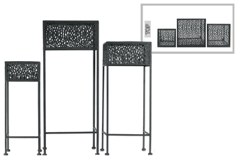 UTC27711 Metal Square Plant Stand with Pierced Metal Design and 3 Legs Set of Three Coated Finish Black