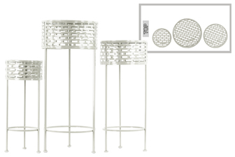 UTC27712 Metal Round Plant Stand with Pierced Metal Design and 3 Legs Set of Three Coated Finish White