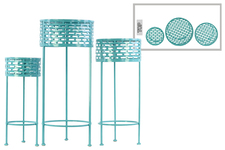 UTC27713 Metal Round Plant Stand with Pierced Metal Design and 3 Legs Set of Three Coated Finish Blue