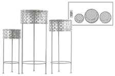 UTC27714 Metal Round Plant Stand with Pierced Metal Design and 3 Legs Set of Three Coated Finish Gray