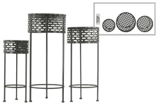UTC27715 Metal Round Plant Stand with Pierced Metal Design and 3 Legs Set of Three Coated Finish Black