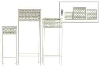 UTC27716 Metal Square Plant Stand with Pierced Metal Design and 3 Legs Set of Three Coated Finish White