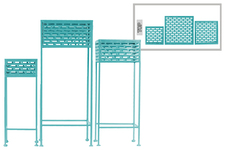 UTC27717 Metal Square Plant Stand with Pierced Metal Design and 3 Legs Set of Three Coated Finish Blue