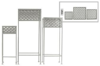 UTC27718 Metal Square Plant Stand with Pierced Metal Design and 3 Legs Set of Three Coated Finish Gray