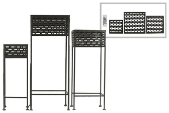 UTC27719 Metal Square Plant Stand with Pierced Metal Design and 3 Legs Set of Three Coated Finish Black