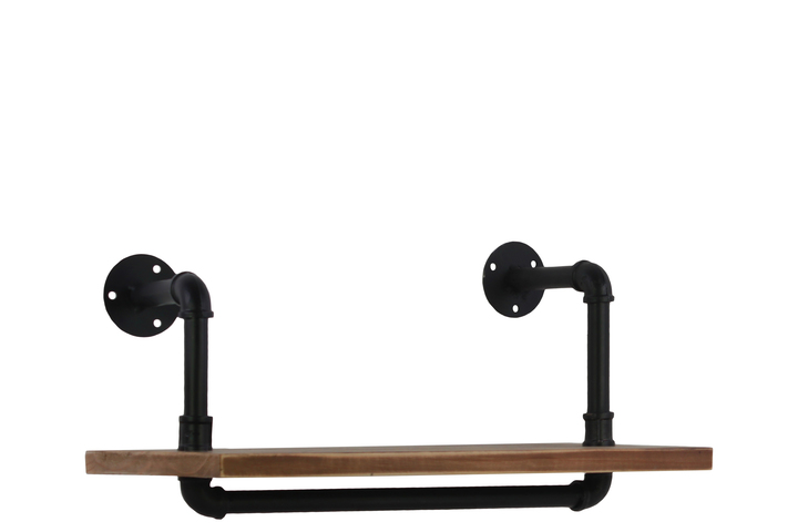 UTC27731 Wood Wall Shelf with Iron Pipe Design and Ovangkol Wood Natural Wood Finish Brown