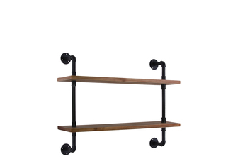 UTC27733 Wood Wall Shelf with Iron Pipe Design, 2 Tiers and Ovangkol Wood Natural Wood Finish Brown