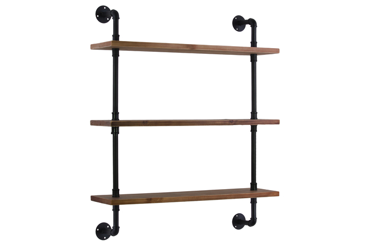 UTC27734 Wood Wall Shelf with Iron Pipe Design, 3 Tiers and Ovangkol Wood Natural Wood Finish Brown