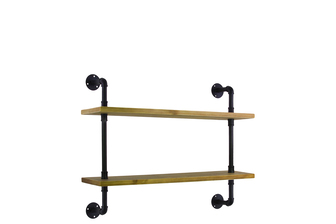 UTC27739 Wood Wall Shelf with Iron Pipe Design, 2 Tiers and Ash Wood Natural Wood Finish Beige