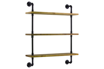 UTC27740 Wood Wall Shelf with Iron Pipe Design, 3 Tiers and Ash Wood Natural Wood Finish Beige