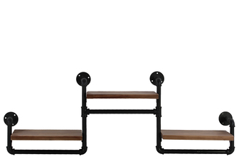 UTC27743 Wood Rectangular Wall Shelf with Ovangkol Wood, Industrial Theme and 3 Tier Natural Wood Finish Brown