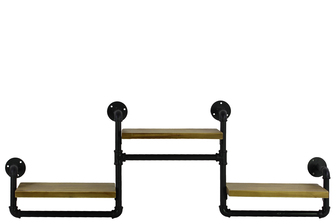 UTC27744 Wood Rectangular Wall Shelf with Ash Wood, Industrial Theme and 3 Tier Natural Wood Finish Beige